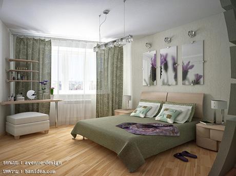 ห้องนอน สีเขียวดีไซน์เก๋