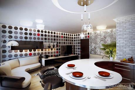 แบบห้องครัว พร้อมห้องนั่งเล่นด้วยสีสันเก๋ๆ