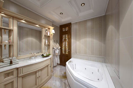 ห้องน้ำ โทนสีน้ำตาลอ่อนแสนหรูหรา