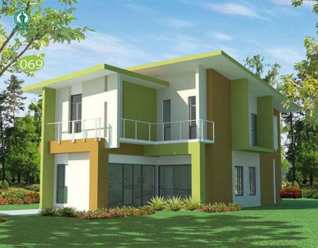 แบบบ้านฟรี บ้านสีเขียว 2 ชั้น สไตล์โมเดิร์น