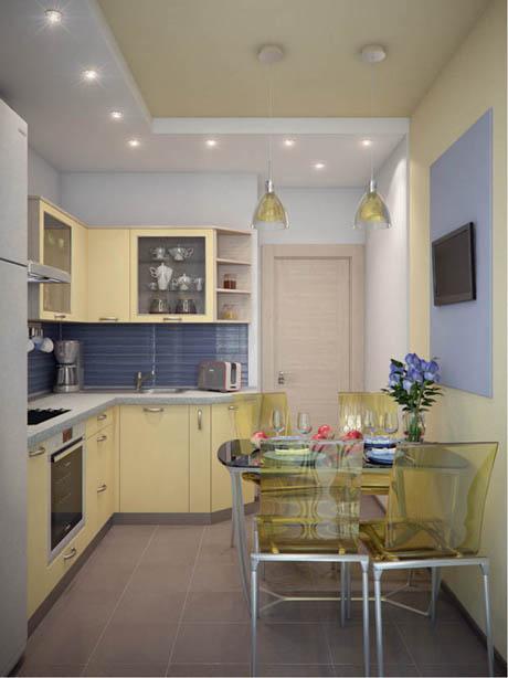 แบบห้องครัว ที่สวยหรูด้วยสีสันเหลือง-ฟ้าน่ารัก