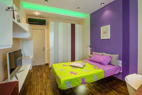 ห้องนอน สีม่วงโดนใจ