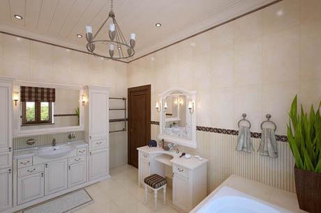 ห้องน้ำโทนสีน้ำตาลอ่อน ตกแต่งหน้าต่างด้วยขอบไม้