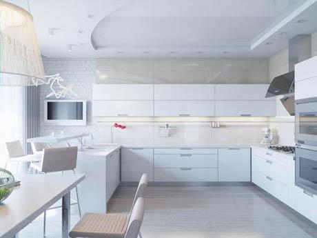 แบบห้องครัว ดีไซน์หรูในโทนสีขาวสะอาดตา