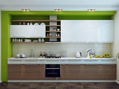 แบบห้องครัว การตกแต่งในสไตล์สีสันธรรมชาติ
