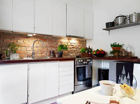 แบบห้องครัวสวย ดีไซน์เก๋ๆด้วยอิฐมอญ