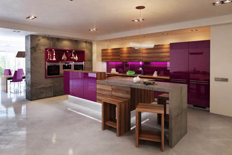 แบบห้องครัว ในโทนสีที่โดดเด่นสะดุดตา