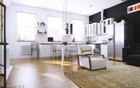 แบบห้องครัวและห้องรับแขกสไตล์เก๋ๆโทนสีขาวดำ