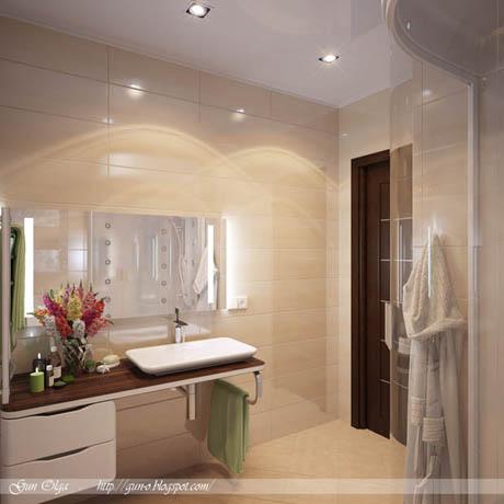 ห้องน้ำสีครีม ดูกว้างขวาง