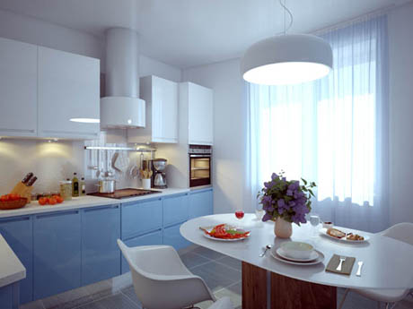 แบบห้องครัว ออกแบบเป็นธรรมชาติโทนสีฟ้าขาว