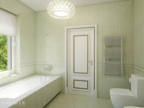 ห้องน้ำ การตกแต่งห้องน้ำด้วยกระเบื้องสีเขียว
