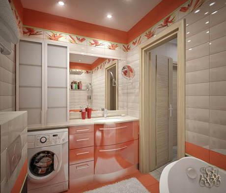 ห้องน้ำ ออกแบบห้องน้ำสีสันสดใส ในพื้นที่เล็กๆ