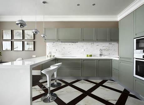 แบบห้องครัว ในโทนสีเทาสไตล์เรียบง่าย