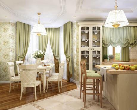 แบบห้องครัวพร้อมห้องนั่งเล่นที่สวยหรูหรา