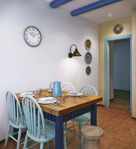 แบบห้องครัว สไตล์เก๋ๆในโทนสีฟ้าสดใส