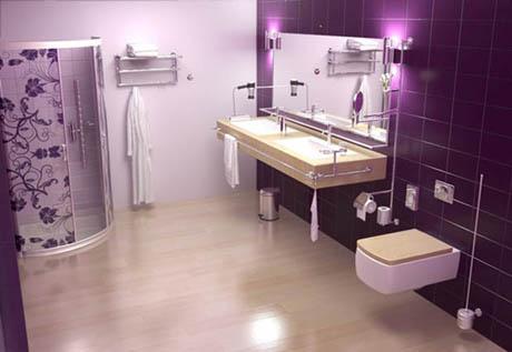ห้องน้ำ 9 ไอเดีย การตกแต่งห้องน้ำสีม่วง